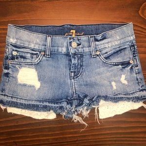 7 For All Mankind Distressed Crochet Jean Short 24